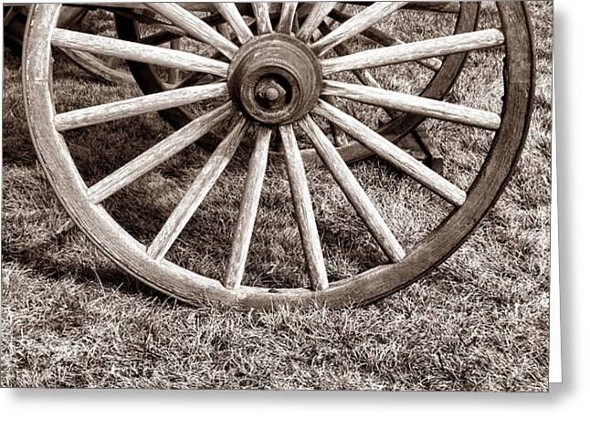 Old Prairie Schooner Wheel Greeting Card by American West Legend By Olivier Le Queinec