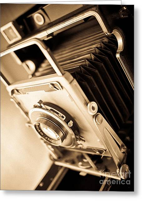 Brown Tone Greeting Cards - Old Press Camera Greeting Card by Edward Fielding
