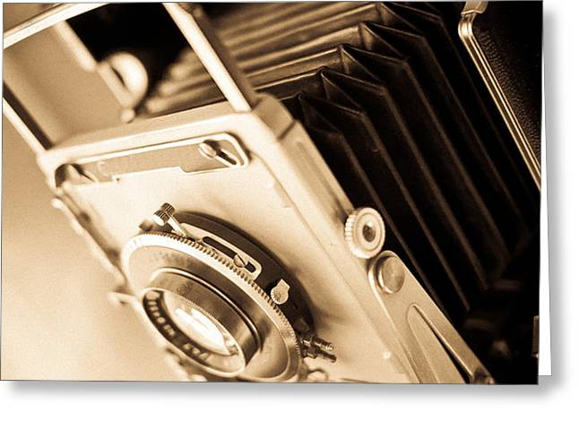 Old Press Camera Greeting Card by Edward Fielding