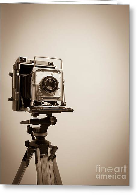 Camera Greeting Cards - Old Press Camera on Tripod Greeting Card by Edward Fielding