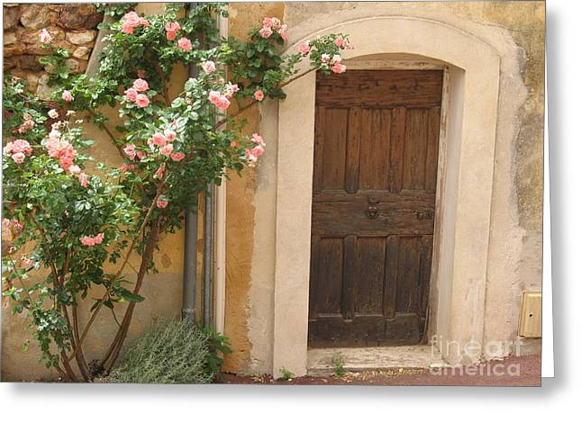 Provence Village Greeting Cards - Old Provence Door And Rose Tree Greeting Card by Christiane Schulze Art And Photography