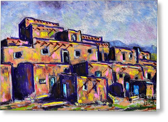 Taos Pastels Greeting Cards - Old Pueblos Greeting Card by Judy Sprague
