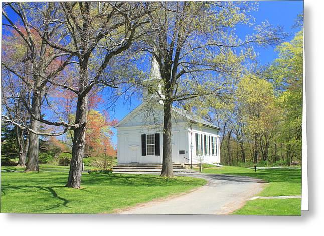 Prescott Greeting Cards - Old Quabbin Reservoir church at Mount Holyoke Greeting Card by John Burk