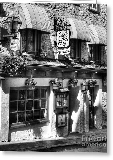 Quebec Restaurants Greeting Cards - Old Quebec City 19 BW Greeting Card by Mel Steinhauer
