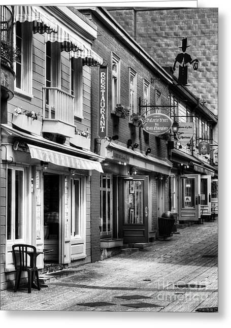 Quebec Restaurants Greeting Cards - Old Quebec City 20 BW Greeting Card by Mel Steinhauer