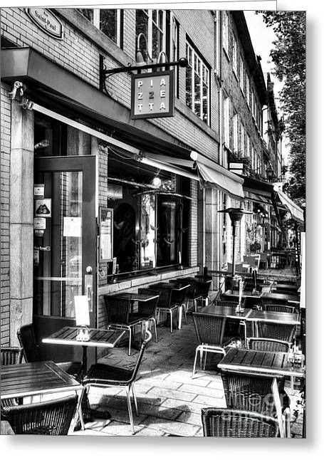 Quebec Restaurants Greeting Cards - Old Quebec City 21 BW Greeting Card by Mel Steinhauer