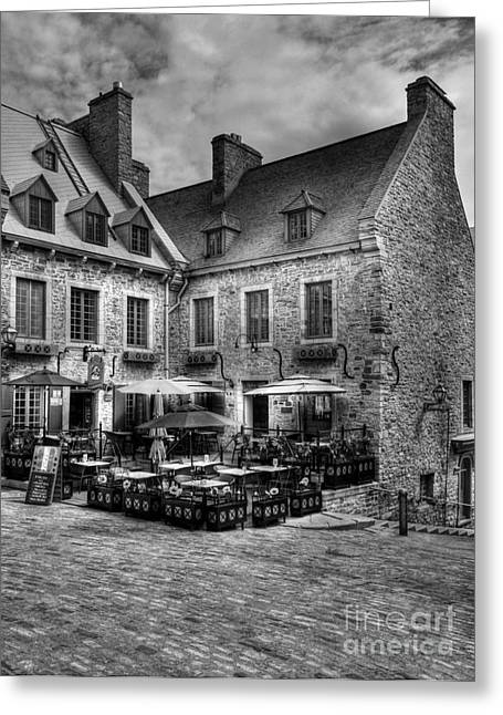 Quebec Scenes Greeting Cards - Old Quebec City bw Greeting Card by Mel Steinhauer