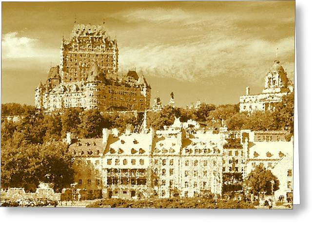 Print On Canvas Greeting Cards - Old Quebec City Canada Greeting Card by Peter Fine Art Gallery  - Paintings Photos Digital Art