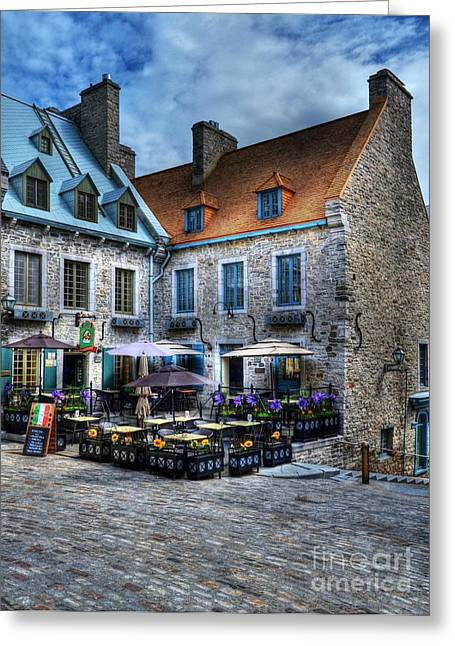 Quebec Restaurants Greeting Cards - Old Quebec City Greeting Card by Mel Steinhauer