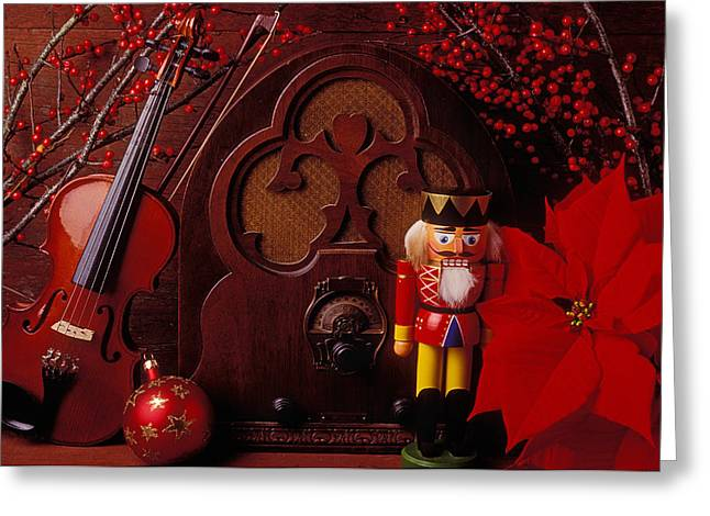 Plaything Greeting Cards - Old raido and Christmas nutcracker Greeting Card by Garry Gay