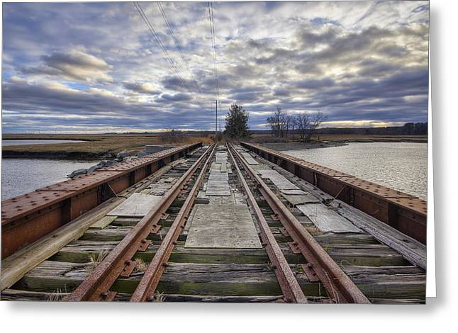 Old Rail Bridge Greeting Card by Eric Gendron