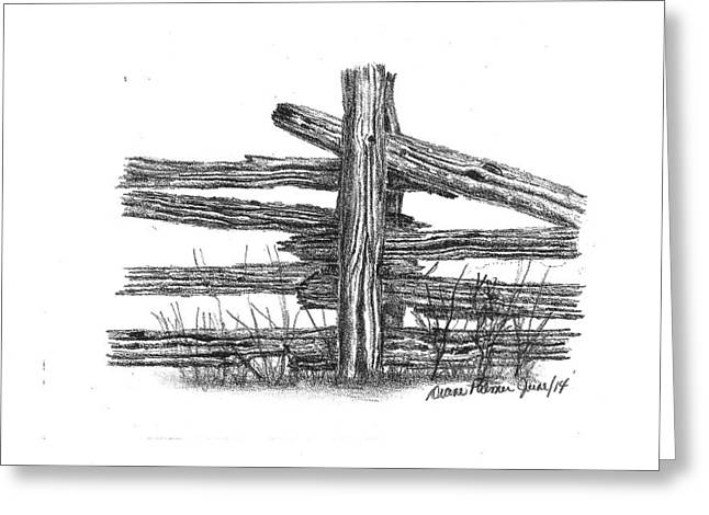 Old Fence Posts Drawings Greeting Cards - Old Rail Fence Post Greeting Card by Diane Palmer