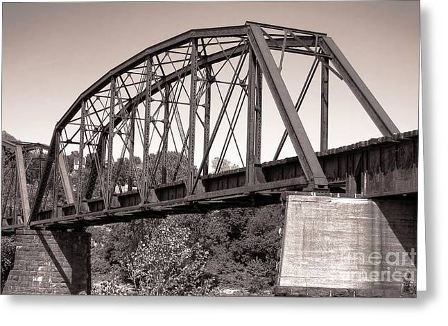 Steel: Iron Greeting Cards - Old Railroad Bridge Greeting Card by Olivier Le Queinec