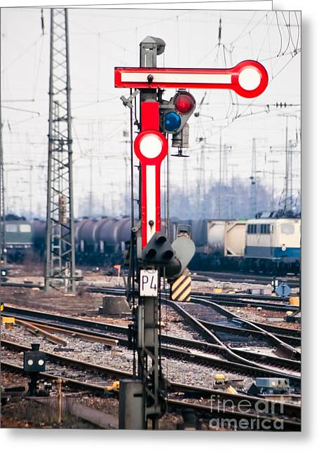 Mechanism Photographs Greeting Cards - Old railway semaphore Greeting Card by Stephan Pietzko