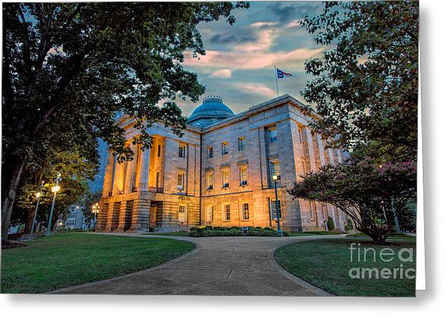 Historic Home Greeting Cards - Old Raleigh Capital at Sunset I Greeting Card by Dan Carmichael