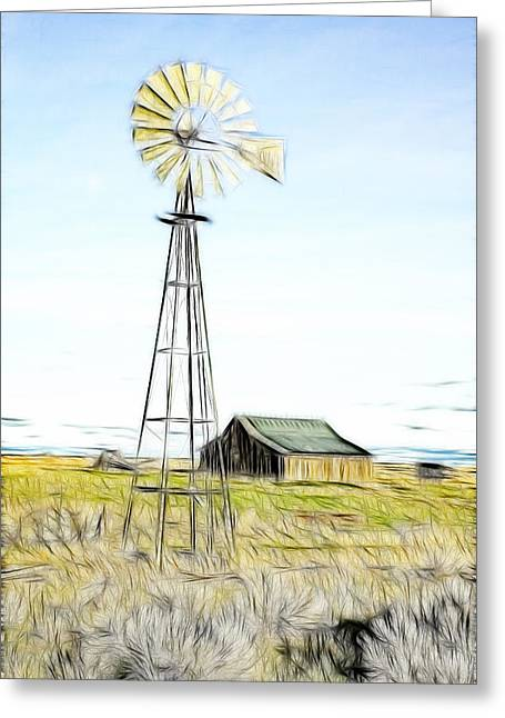 Kinkade Greeting Cards - Old Ranch Windmill Greeting Card by Steve McKinzie