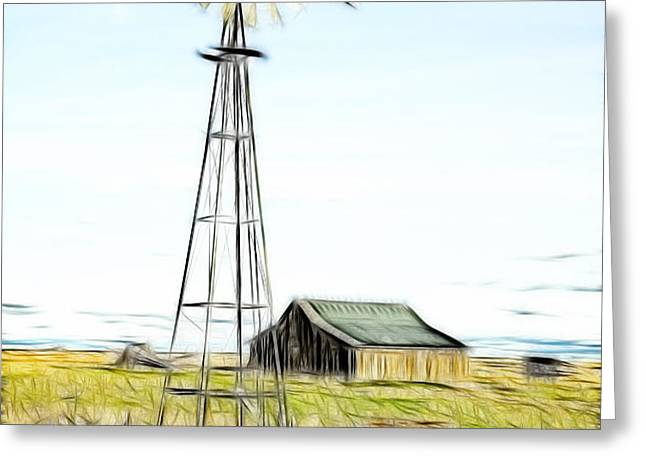 Old Ranch Windmill Greeting Card by Steve McKinzie