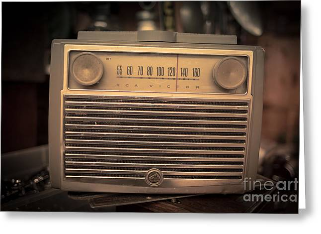 Victor Greeting Cards - Old RCA Victor Antique Vintage Radio Greeting Card by Edward Fielding