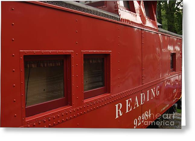 Caboose Photographs Greeting Cards - Old Reading RR Caboose in Lititz PA Greeting Card by Anna Lisa Yoder