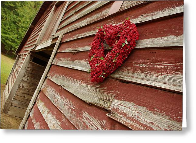 Old Barns Greeting Cards - Old Red Bard with Red Heart Greeting Card by Patrick Douglas