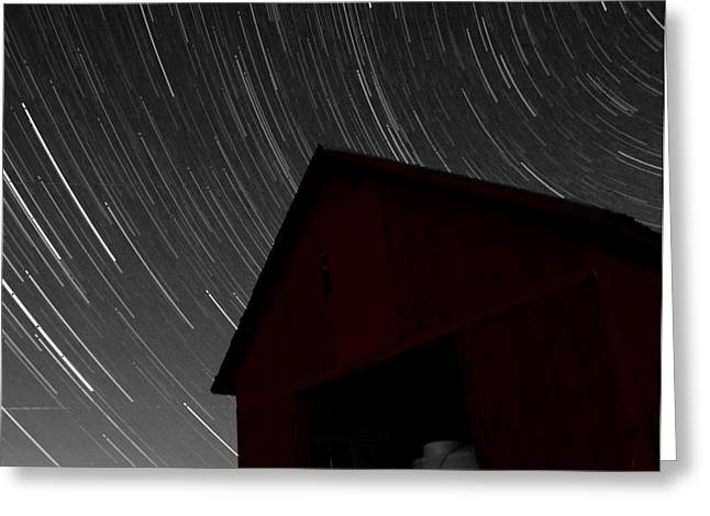 Old Barns Greeting Cards - Old Red Barn And Stars Greeting Card by Dan Sproul