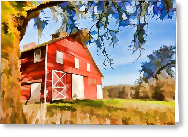 Grassy Field Greeting Cards - Old Red Barn Greeting Card by Bonnie Bruno