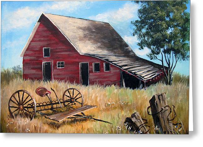 Old Fence Posts Paintings Greeting Cards - Old Red Barn Greeting Card by Carol Hart
