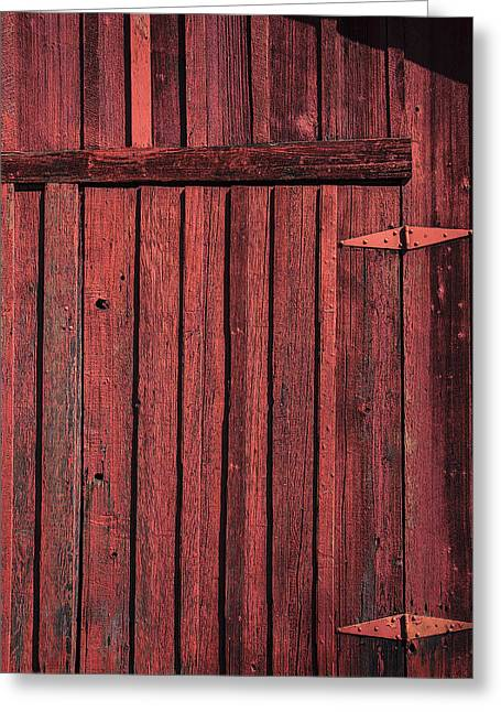 Hinged Greeting Cards - Old red barn door Greeting Card by Garry Gay
