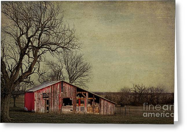 Farmers Field Greeting Cards - Old red barn Greeting Card by Elena Nosyreva