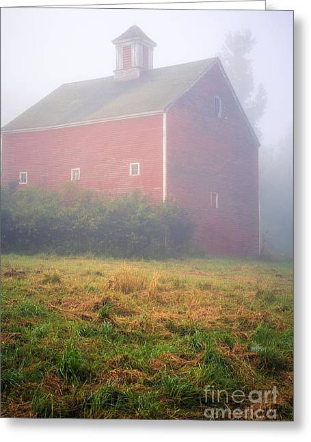 Red-roofed Buildings Greeting Cards - Old Red Barn in Fog Greeting Card by Edward Fielding
