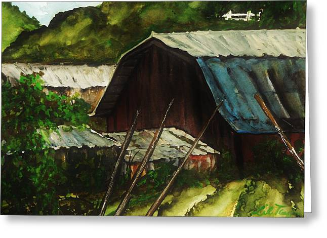 Outbuildings Paintings Greeting Cards - Old Red Barn Greeting Card by Lil Taylor