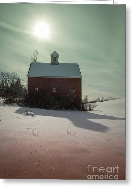 Shadows Cast Greeting Cards - Old red barn long shadow Greeting Card by Edward Fielding