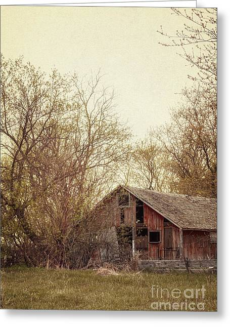 Painted Wood Greeting Cards - Old Red Barn Greeting Card by Margie Hurwich