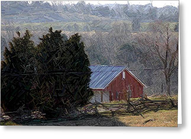 Hills Tapestries - Textiles Greeting Cards - Old Red Barn Near Battlefield - Perryville KY Greeting Card by Thia Stover
