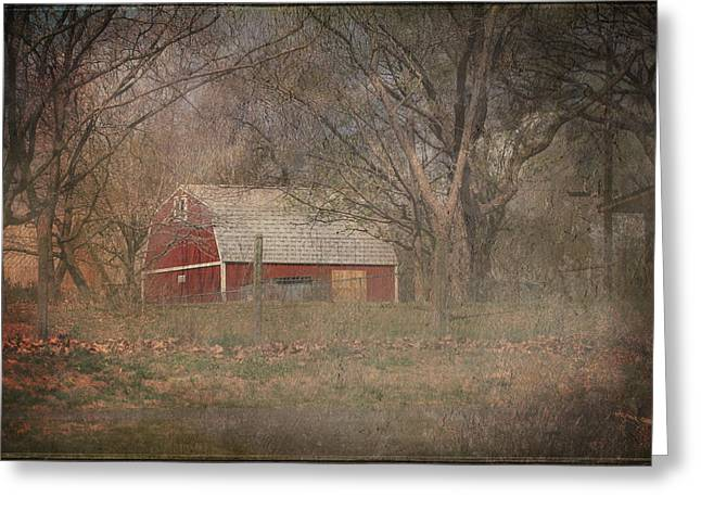 Shed Digital Art Greeting Cards - Old Red Barn Greeting Card by Terry Fleckney