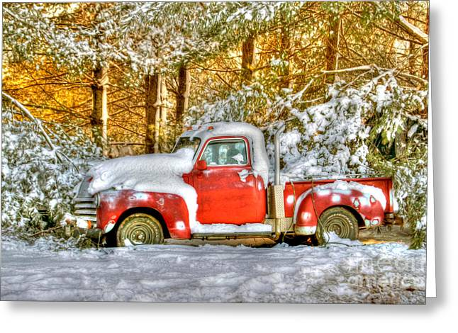 Snow-covered Landscape Photographs Greeting Cards - Old Red Greeting Card by Benanne Stiens
