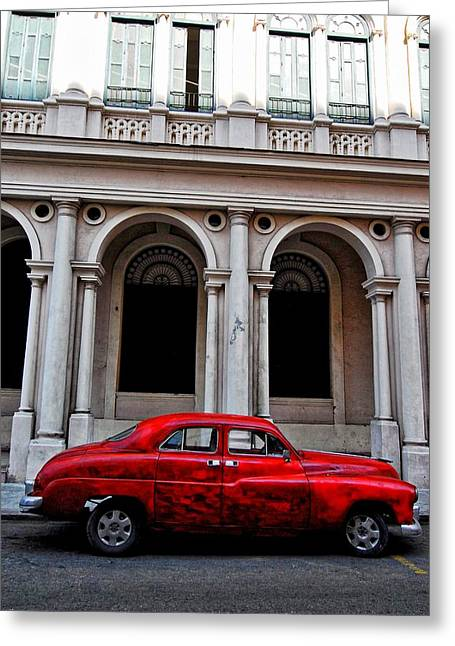 Old Street Greeting Cards - Old red car in Havana Greeting Card by Larry Sides