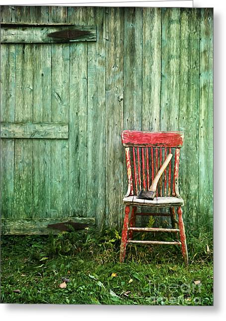 Chairs Greeting Cards - Old red chair near a barn/digital oil painting Greeting Card by Sandra Cunningham