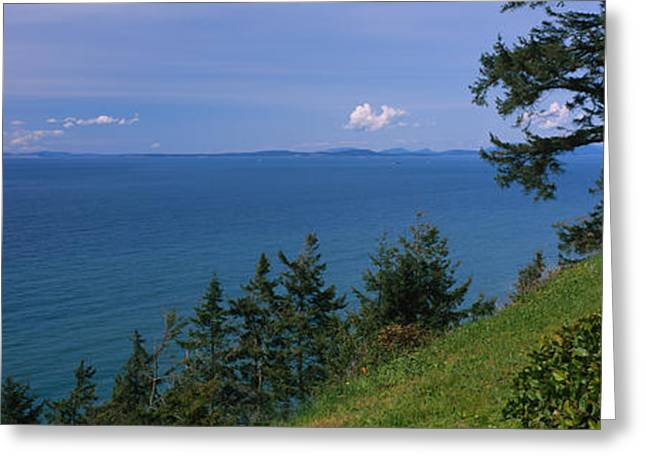 Whidbey Island Greeting Cards - Old Red Chair Near The Sea, Strait Greeting Card by Panoramic Images