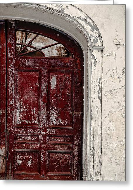 Building. Home Greeting Cards - Old Red Door Greeting Card by Edward Fielding