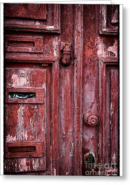 Old Door Print Greeting Cards - Old Red Door Greeting Card by John Rizzuto