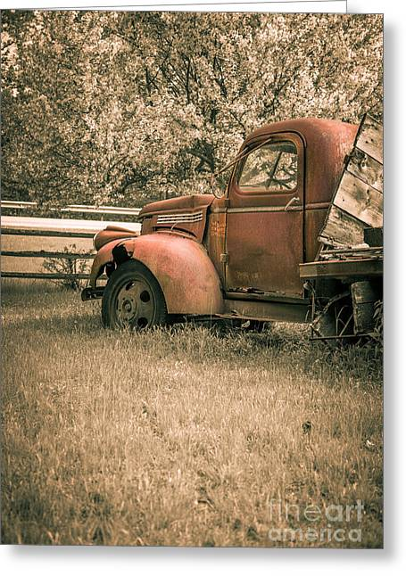 Old Trucks Greeting Cards - Old red farm truck Greeting Card by Edward Fielding