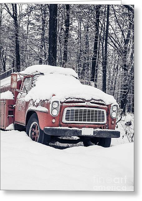 Left Behind Greeting Cards - Old Red Fire Truck covered with snow Greeting Card by Edward Fielding