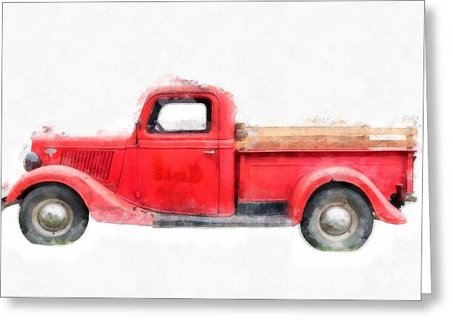 Old Red Ford Pickup Greeting Card by Edward Fielding