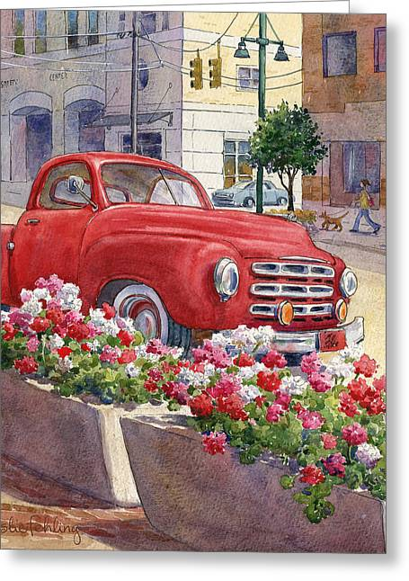 Red Truck Greeting Cards - Old Red Greeting Card by Leslie Fehling