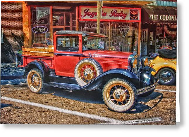 Clunker Greeting Cards - Old Red PickUp Truck Greeting Card by Thomas Woolworth