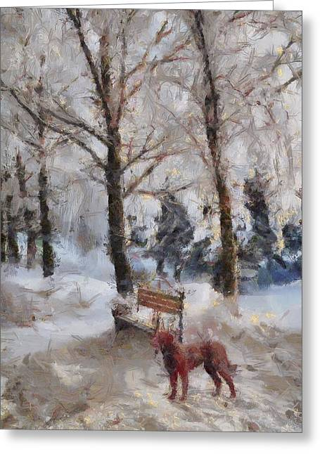 Dog In Snow Greeting Cards - Old Red Playing in the Snow  Greeting Card by L Wright