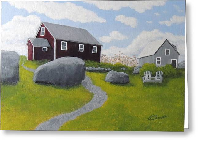 Old School Houses Paintings Greeting Cards - Old Red Schoolhouse Greeting Card by Lisa MacDonald