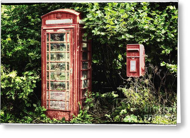 Snug Digital Greeting Cards - Old Red Telephone Box Old Red Letter Box Greeting Card by Natalie Kinnear
