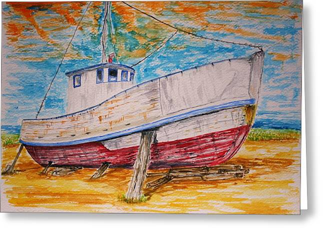 Old Cabins Drawings Greeting Cards - Old Reds Last Stand Greeting Card by Paul Morgan